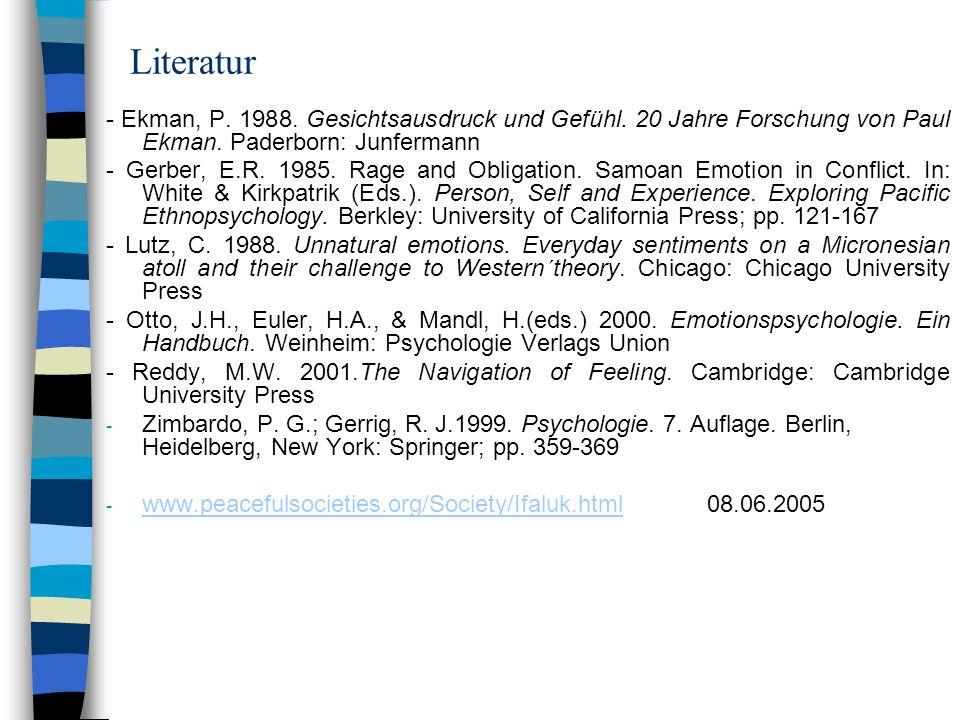 Literatur - Ekman, P. 1988. Gesichtsausdruck und Gefühl. 20 Jahre Forschung von Paul Ekman. Paderborn: Junfermann - Gerber, E.R. 1985. Rage and Obliga