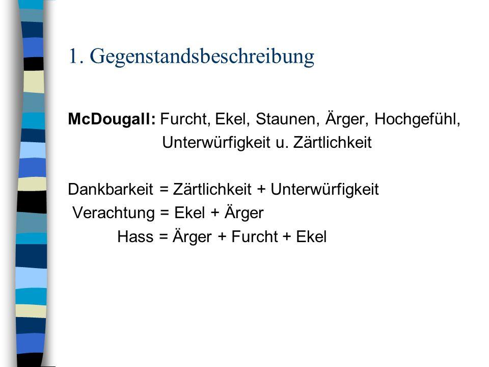 1. Gegenstandsbeschreibung McDougall: Furcht, Ekel, Staunen, Ärger, Hochgefühl, Unterwürfigkeit u. Zärtlichkeit Dankbarkeit = Zärtlichkeit + Unterwürf