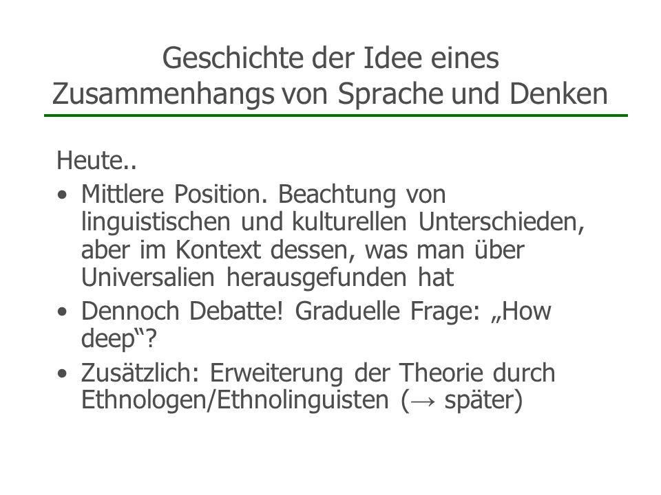 Geschichte der Idee eines Zusammenhangs von Sprache und Denken Heute.. Mittlere Position. Beachtung von linguistischen und kulturellen Unterschieden,