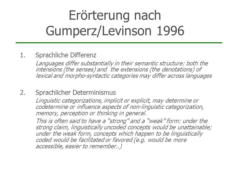 Erörterung nach Gumperz/Levinson 1996 1.Sprachliche Differenz Languages differ substantially in their semantic structure: both the intensions (the sen
