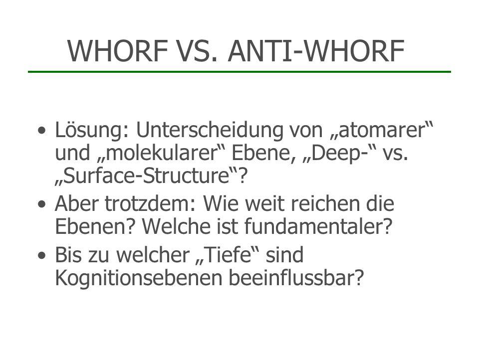 WHORF VS. ANTI-WHORF Lösung: Unterscheidung von atomarer und molekularer Ebene, Deep- vs. Surface-Structure? Aber trotzdem: Wie weit reichen die Ebene