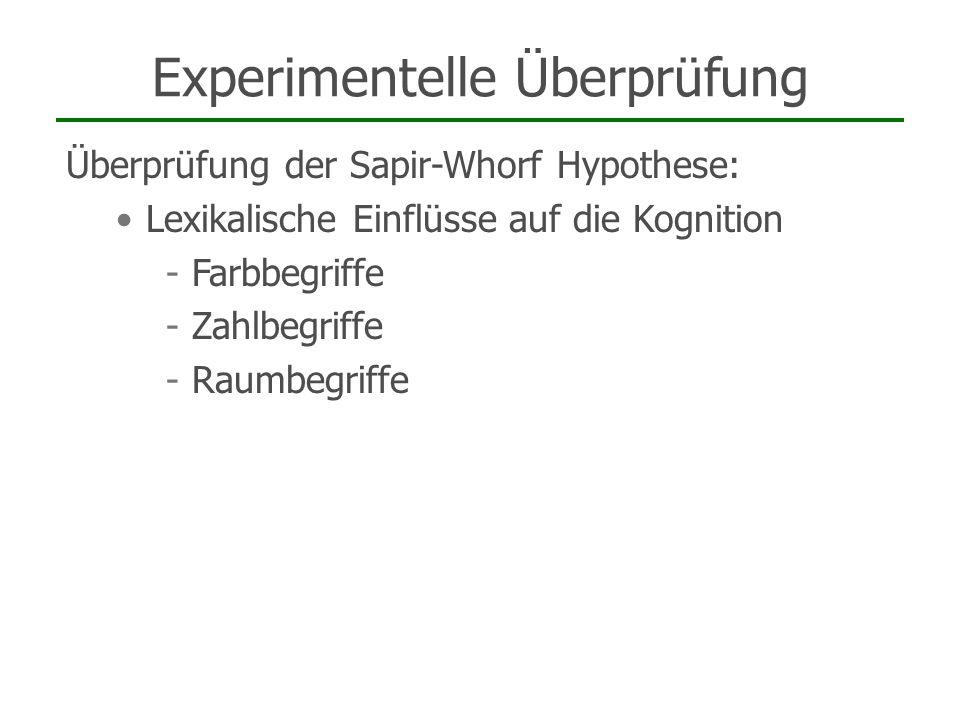 Experimentelle Überprüfung Überprüfung der Sapir-Whorf Hypothese: Lexikalische Einflüsse auf die Kognition - Farbbegriffe - Zahlbegriffe - Raumbegriff