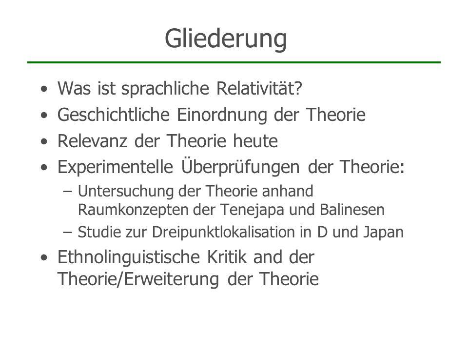 Gliederung Was ist sprachliche Relativität? Geschichtliche Einordnung der Theorie Relevanz der Theorie heute Experimentelle Überprüfungen der Theorie:
