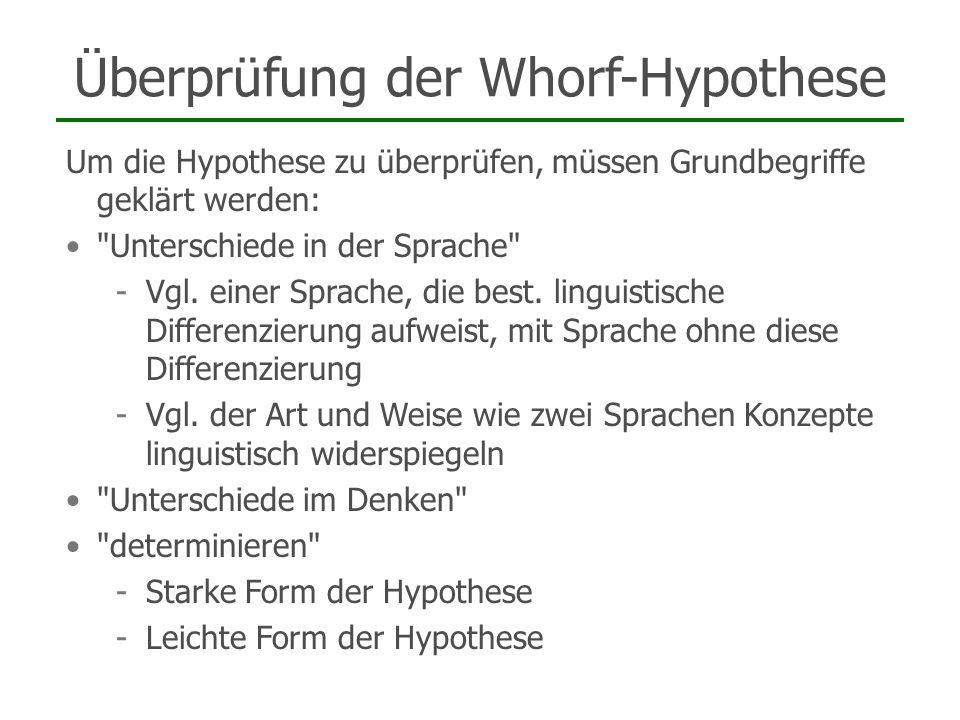 Überprüfung der Whorf-Hypothese Um die Hypothese zu überprüfen, müssen Grundbegriffe geklärt werden:
