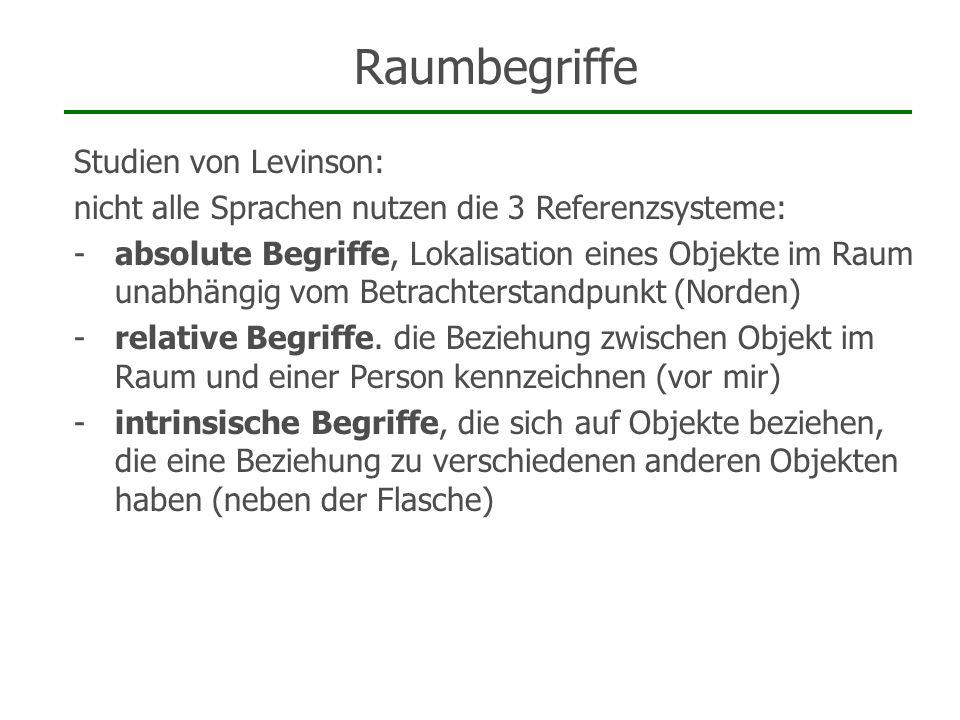 Studien von Levinson: nicht alle Sprachen nutzen die 3 Referenzsysteme: -absolute Begriffe, Lokalisation eines Objekte im Raum unabhängig vom Betracht