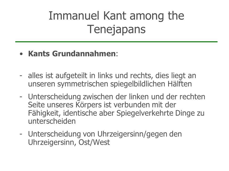 Immanuel Kant among the Tenejapans Kants Grundannahmen: -alles ist aufgeteilt in links und rechts, dies liegt an unseren symmetrischen spiegelbildlich