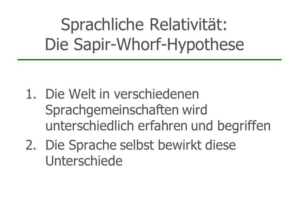Sprachliche Relativität: Die Sapir-Whorf-Hypothese Annahme: Durch das Mittel der Sprache beeinflusst Kultur unsere Art zu denken (und somit auch unser Verhalten) Probleme: Was beinhalten Sprache/Kultur/Denken.