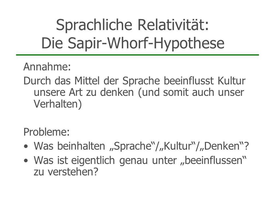Sprachliche Relativität: Die Sapir-Whorf-Hypothese Annahme: Durch das Mittel der Sprache beeinflusst Kultur unsere Art zu denken (und somit auch unser