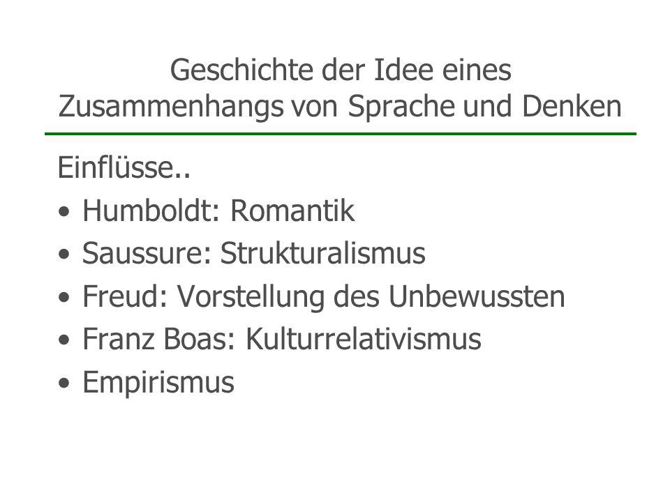Geschichte der Idee eines Zusammenhangs von Sprache und Denken Einflüsse.. Humboldt: Romantik Saussure: Strukturalismus Freud: Vorstellung des Unbewus