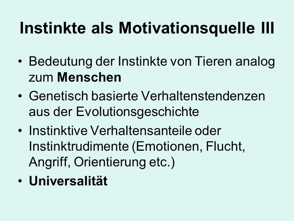 Instinkte als Motivationsquelle III Bedeutung der Instinkte von Tieren analog zum Menschen Genetisch basierte Verhaltenstendenzen aus der Evolutionsgeschichte Instinktive Verhaltensanteile oder Instinktrudimente (Emotionen, Flucht, Angriff, Orientierung etc.) Universalität