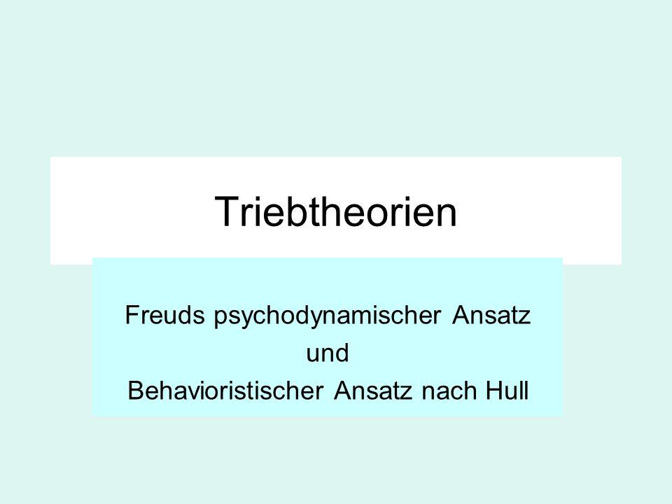 Triebtheorien Freuds psychodynamischer Ansatz und Behavioristischer Ansatz nach Hull