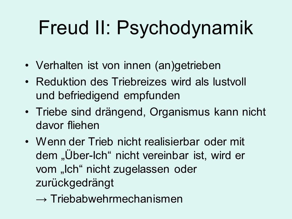 Verhalten ist von innen (an)getrieben Reduktion des Triebreizes wird als lustvoll und befriedigend empfunden Triebe sind drängend, Organismus kann nicht davor fliehen Wenn der Trieb nicht realisierbar oder mit dem Über-Ich nicht vereinbar ist, wird er vom Ich nicht zugelassen oder zurückgedrängt Triebabwehrmechanismen Freud II: Psychodynamik