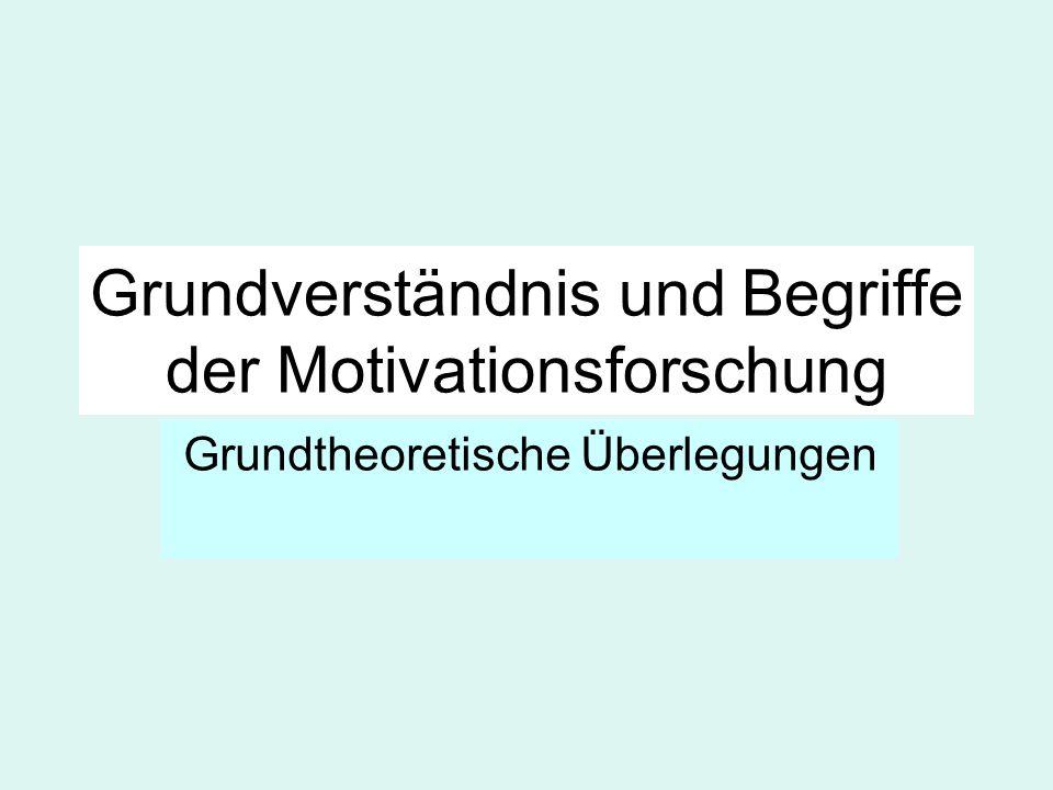 Grundverständnis und Begriffe der Motivationsforschung Grundtheoretische Überlegungen
