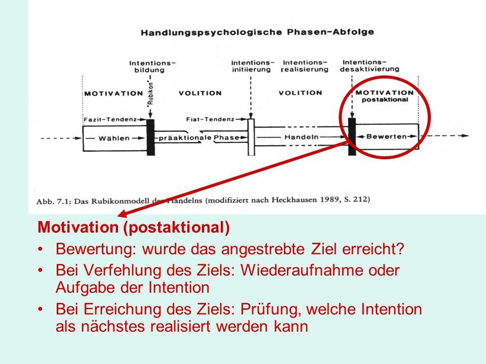 Motivation (postaktional) Bewertung: wurde das angestrebte Ziel erreicht? Bei Verfehlung des Ziels: Wiederaufnahme oder Aufgabe der Intention Bei Erre