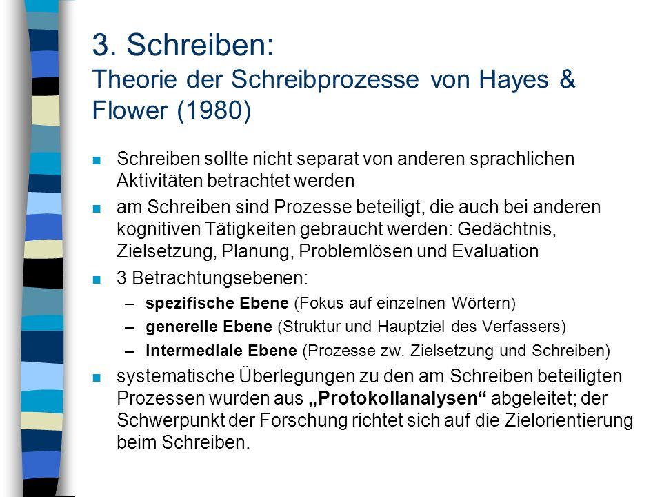 3. Schreiben: Theorie der Schreibprozesse von Hayes & Flower (1980) n Schreiben sollte nicht separat von anderen sprachlichen Aktivitäten betrachtet w