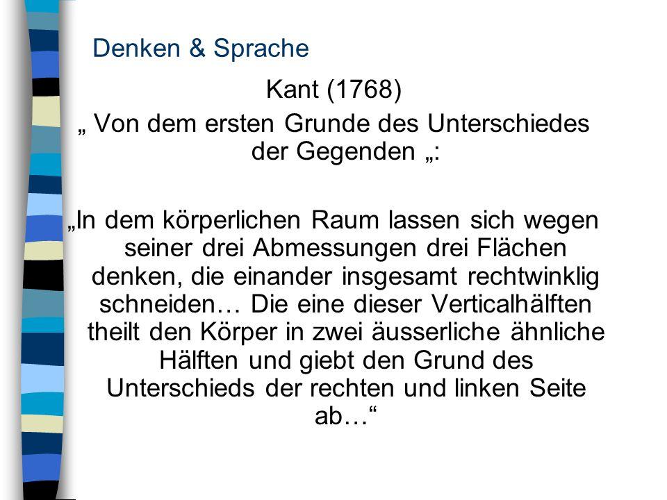 Denken & Sprache Kant (1768) Von dem ersten Grunde des Unterschiedes der Gegenden : In dem körperlichen Raum lassen sich wegen seiner drei Abmessungen