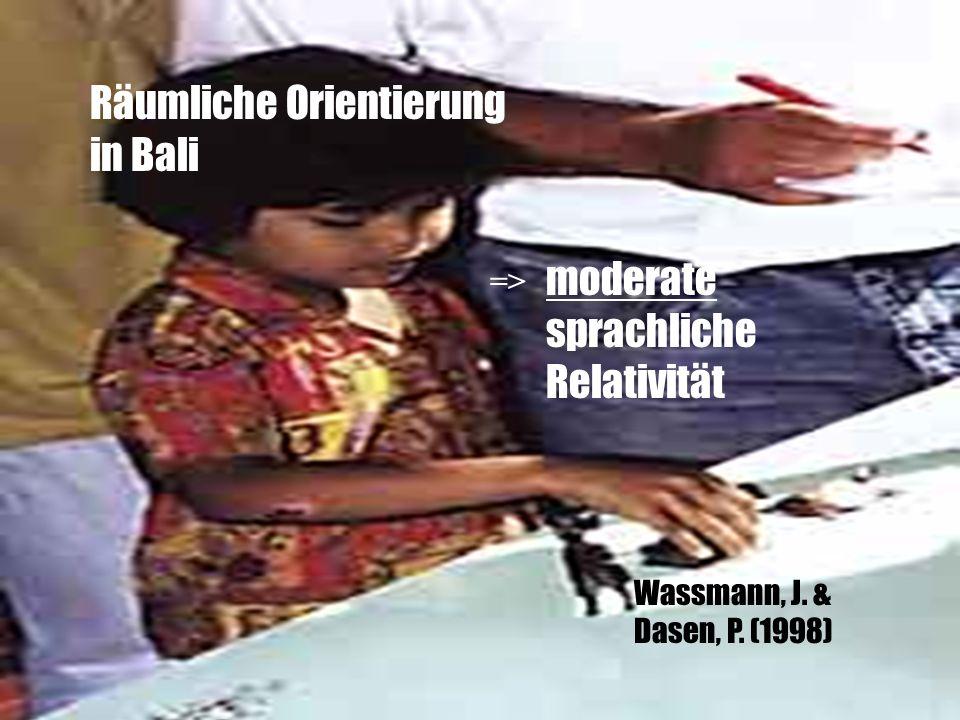 Wassmann, J. & Dasen, P. (1998) Räumliche Orientierung in Bali moderate sprachliche Relativität =>