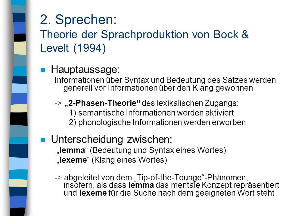 2. Sprechen: Theorie der Sprachproduktion von Bock & Levelt (1994) n Hauptaussage: Informationen über Syntax und Bedeutung des Satzes werden generell