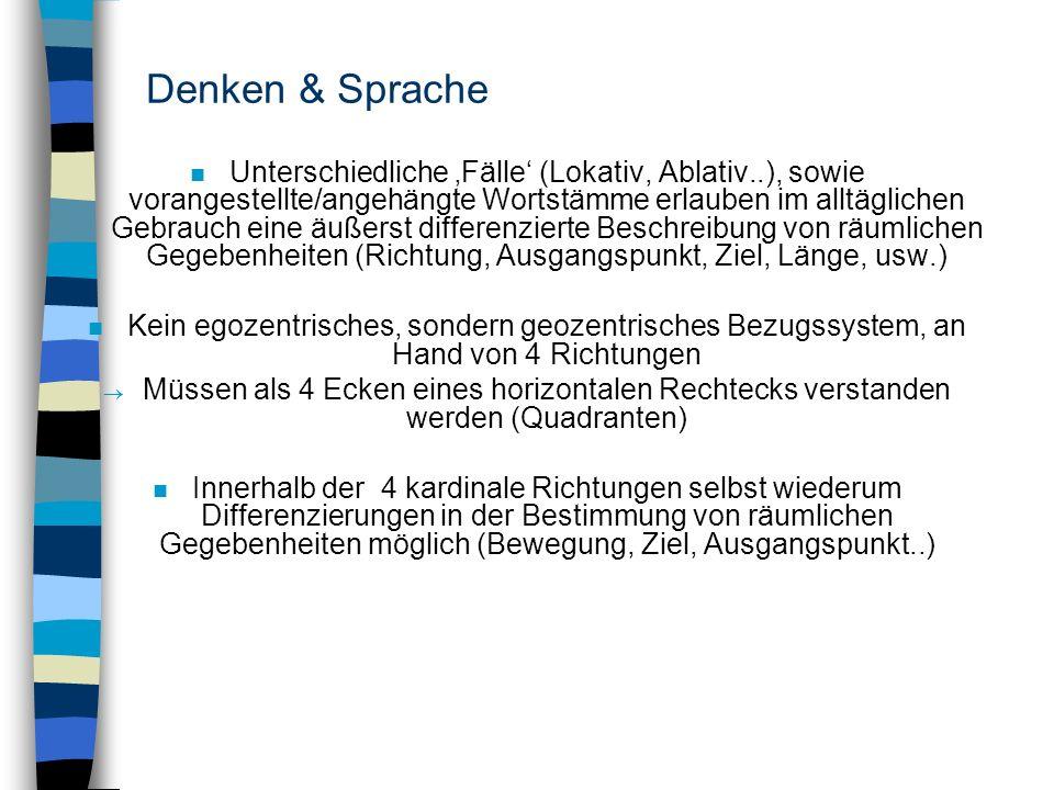 Denken & Sprache n Unterschiedliche Fälle (Lokativ, Ablativ..), sowie vorangestellte/angehängte Wortstämme erlauben im alltäglichen Gebrauch eine äuße