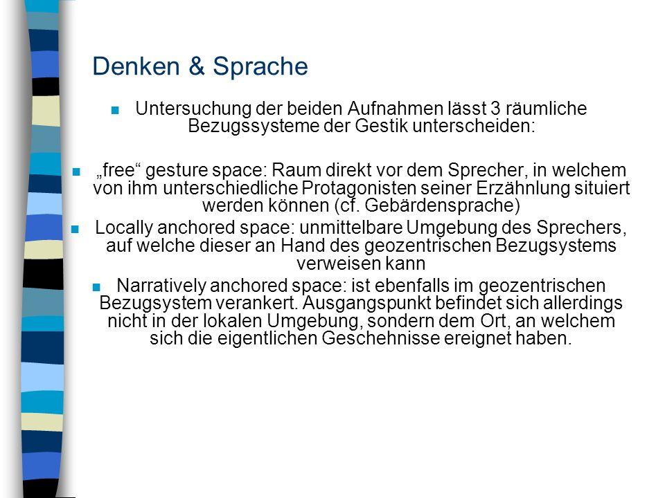 Denken & Sprache n Untersuchung der beiden Aufnahmen lässt 3 räumliche Bezugssysteme der Gestik unterscheiden: n free gesture space: Raum direkt vor d
