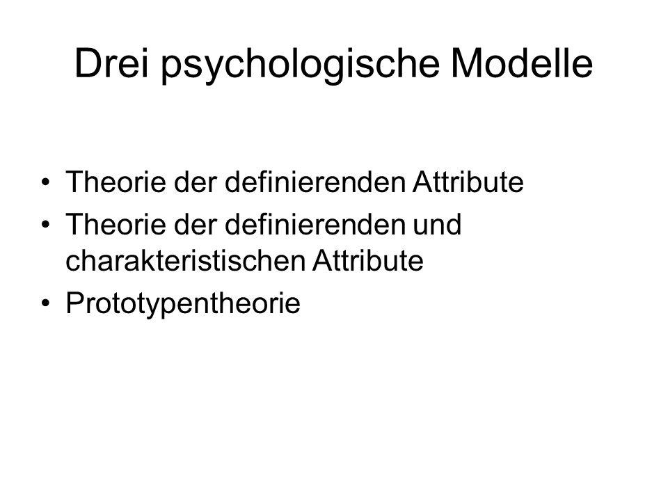 Drei psychologische Modelle Theorie der definierenden Attribute Theorie der definierenden und charakteristischen Attribute Prototypentheorie