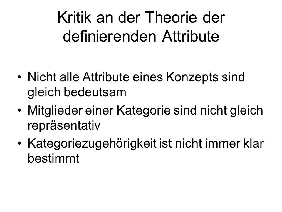 Kritik an der Theorie der definierenden Attribute Nicht alle Attribute eines Konzepts sind gleich bedeutsam Mitglieder einer Kategorie sind nicht glei