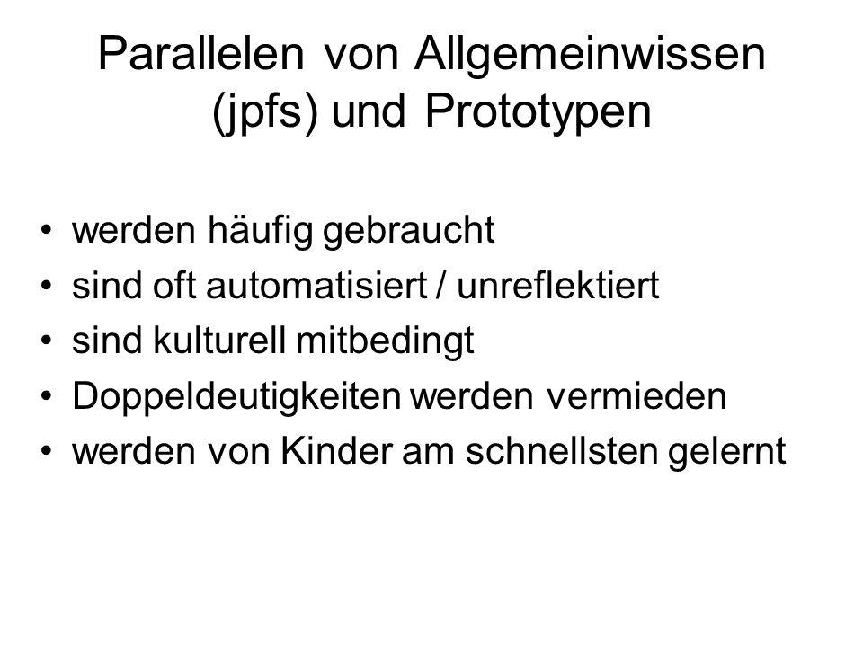 Parallelen von Allgemeinwissen (jpfs) und Prototypen werden häufig gebraucht sind oft automatisiert / unreflektiert sind kulturell mitbedingt Doppelde