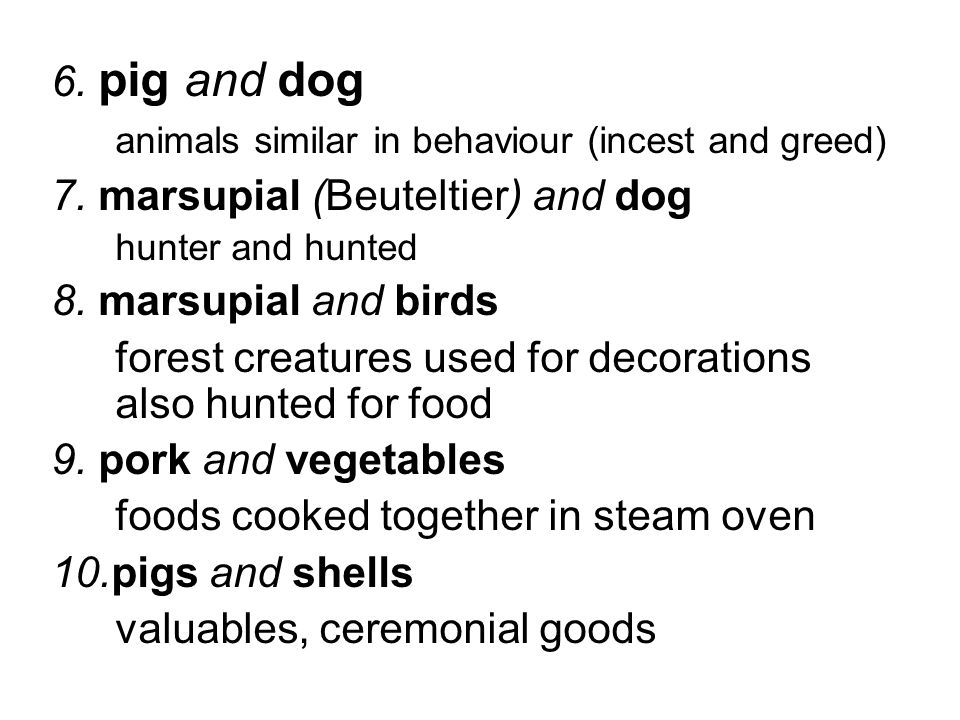 6. pig and dog animals similar in behaviour (incest and greed) 7. marsupial (Beuteltier) and dog hunter and hunted 8. marsupial and birds forest creat