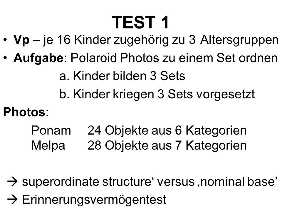 TEST 1 Vp – je 16 Kinder zugehörig zu 3 Altersgruppen Aufgabe: Polaroid Photos zu einem Set ordnen a. Kinder bilden 3 Sets b. Kinder kriegen 3 Sets vo
