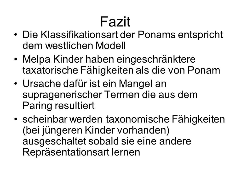 Fazit Die Klassifikationsart der Ponams entspricht dem westlichen Modell Melpa Kinder haben eingeschränktere taxatorische Fähigkeiten als die von Pona