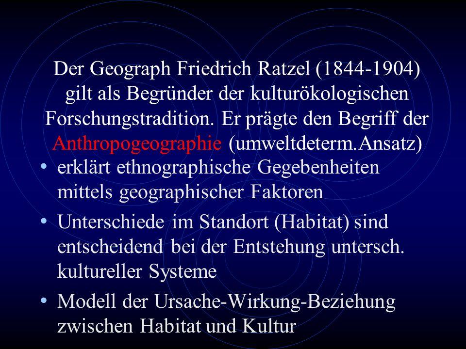 1.1.Umweltdeterminismus Die Anthropogeographie des Friedrich Ratzel