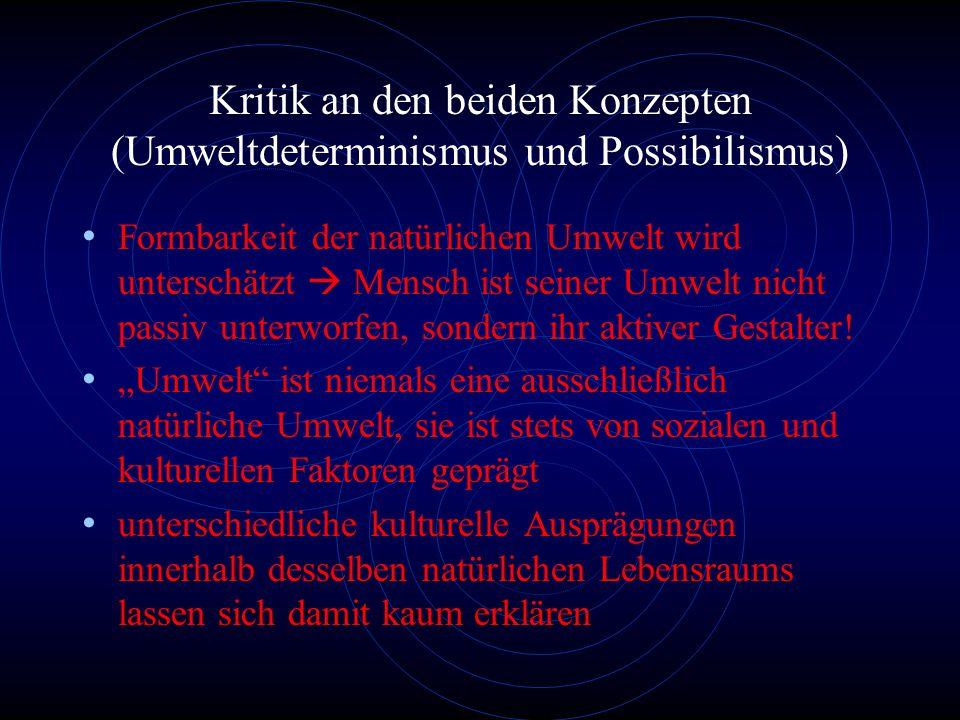 Vergleich Umweltdeterminismus - Possibilismus