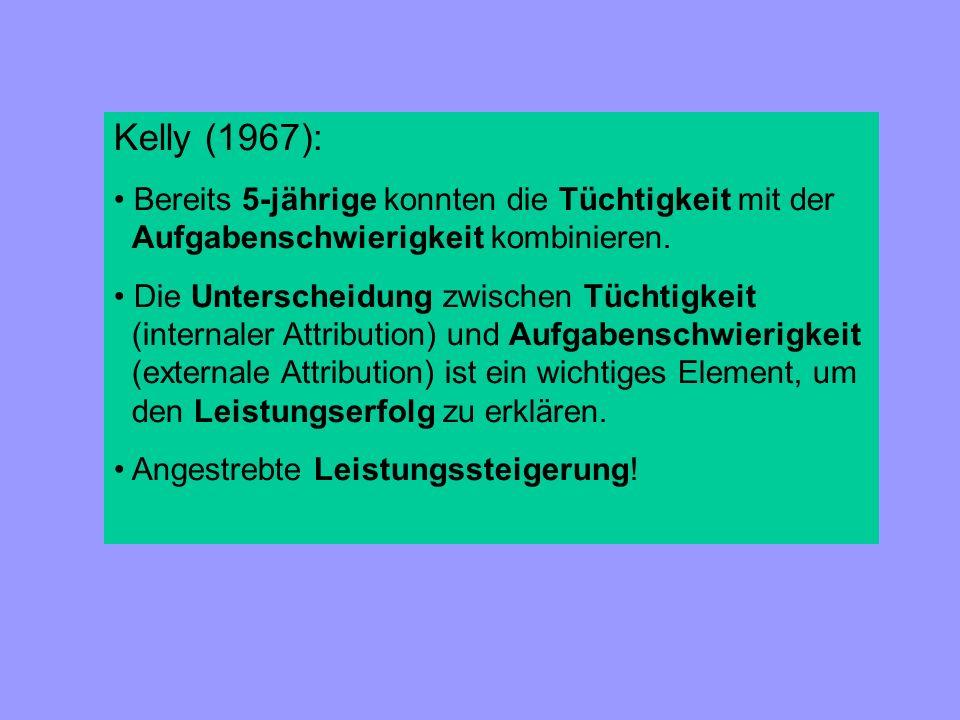Kelly (1967): Bereits 5-jährige konnten die Tüchtigkeit mit der Aufgabenschwierigkeit kombinieren.