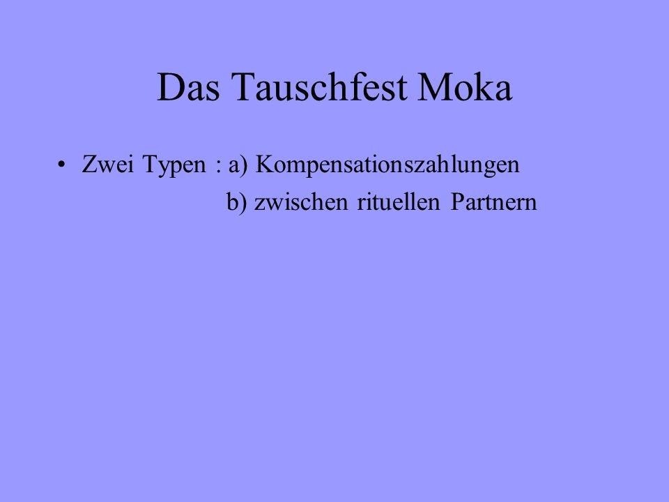 Das Tauschfest Moka Zwei Typen : a) Kompensationszahlungen b) zwischen rituellen Partnern