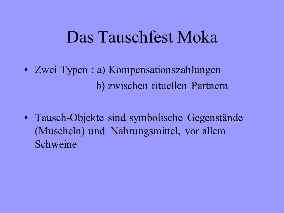 Das Tauschfest Moka Zwei Typen : a) Kompensationszahlungen b) zwischen rituellen Partnern Tausch-Objekte sind symbolische Gegenstände (Muscheln) und Nahrungsmittel, vor allem Schweine