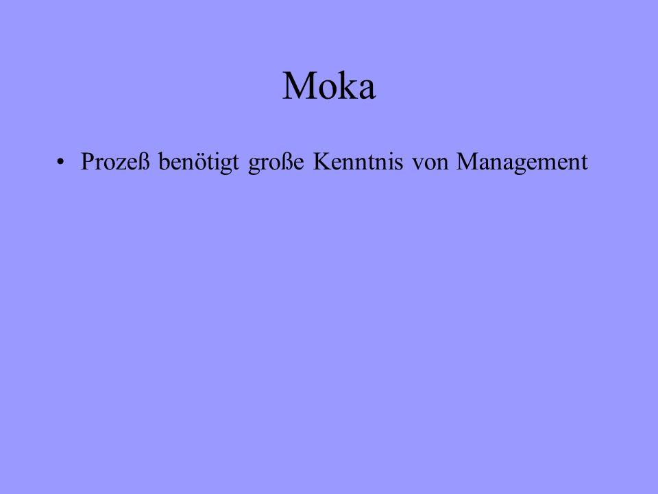 Moka Prozeß benötigt große Kenntnis von Management