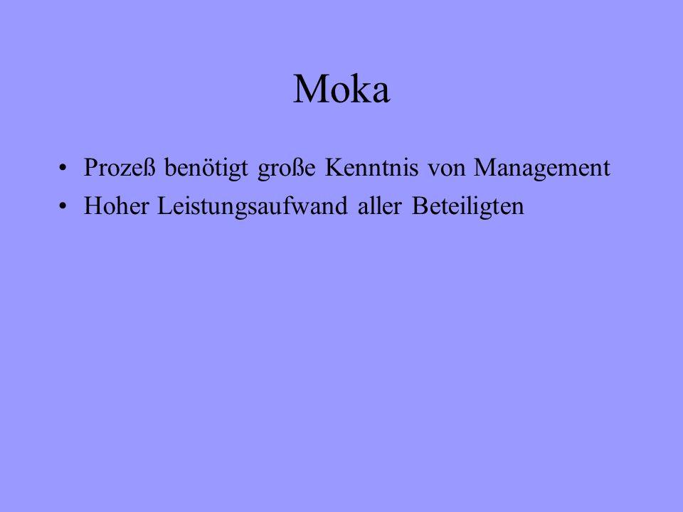 Moka Prozeß benötigt große Kenntnis von Management Hoher Leistungsaufwand aller Beteiligten