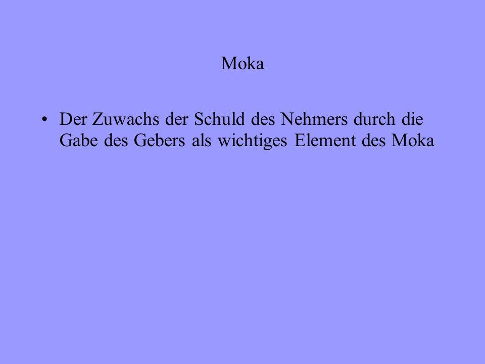 Moka Der Zuwachs der Schuld des Nehmers durch die Gabe des Gebers als wichtiges Element des Moka