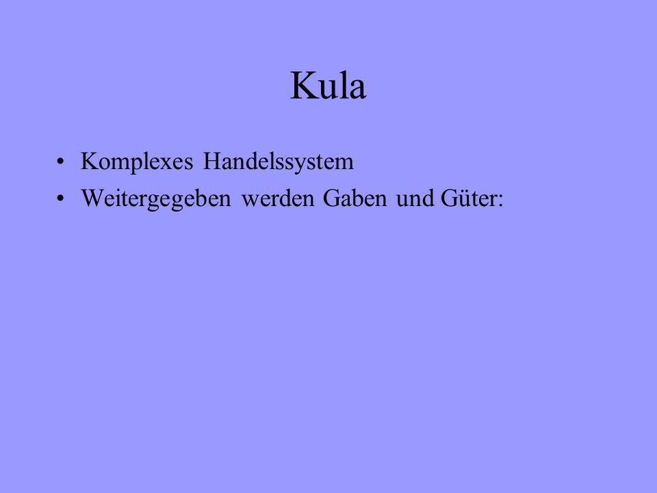 Kula Komplexes Handelssystem Weitergegeben werden Gaben und Güter: