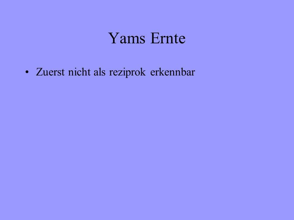 Yams Ernte Zuerst nicht als reziprok erkennbar