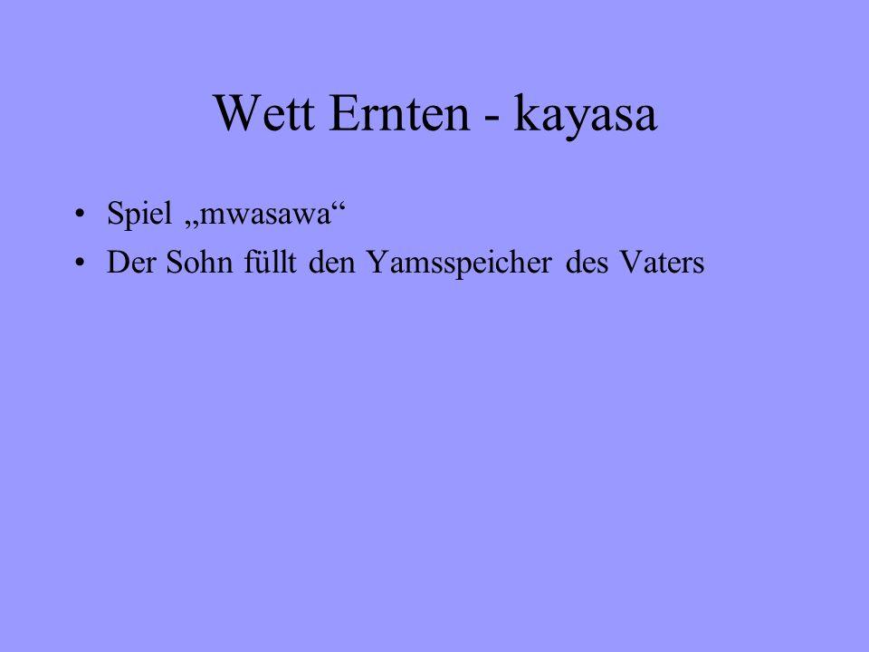 Wett Ernten - kayasa Spiel mwasawa Der Sohn füllt den Yamsspeicher des Vaters