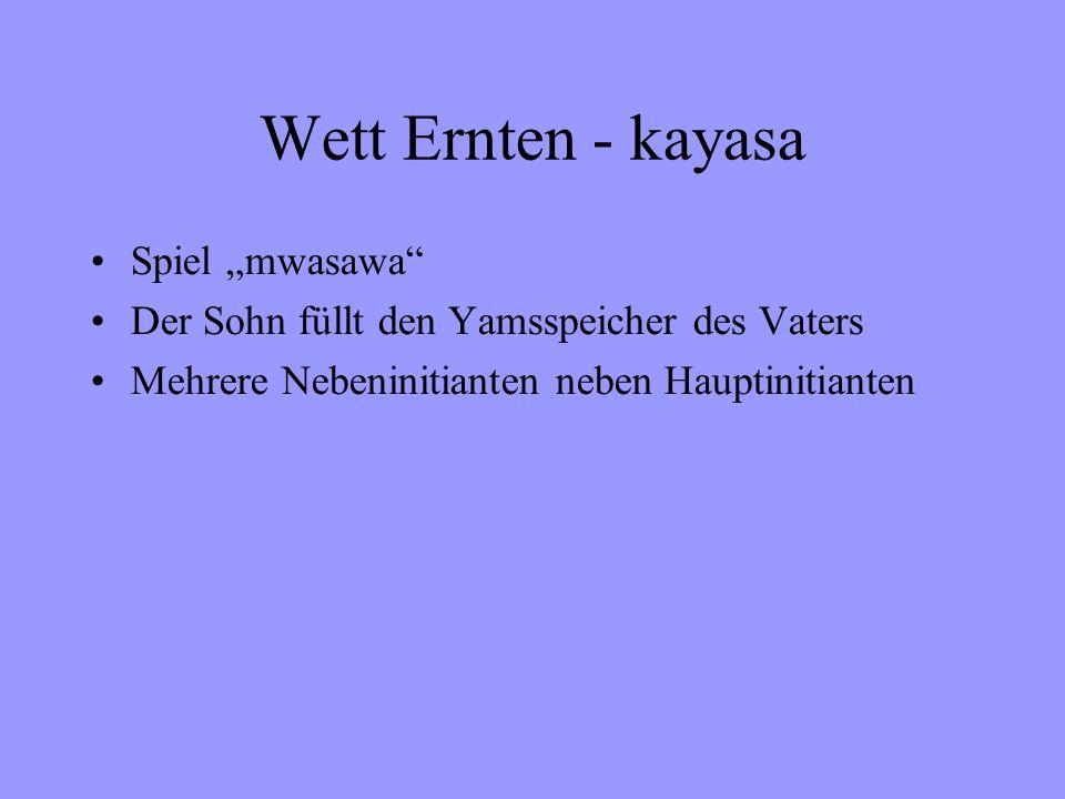 Wett Ernten - kayasa Spiel mwasawa Der Sohn füllt den Yamsspeicher des Vaters Mehrere Nebeninitianten neben Hauptinitianten