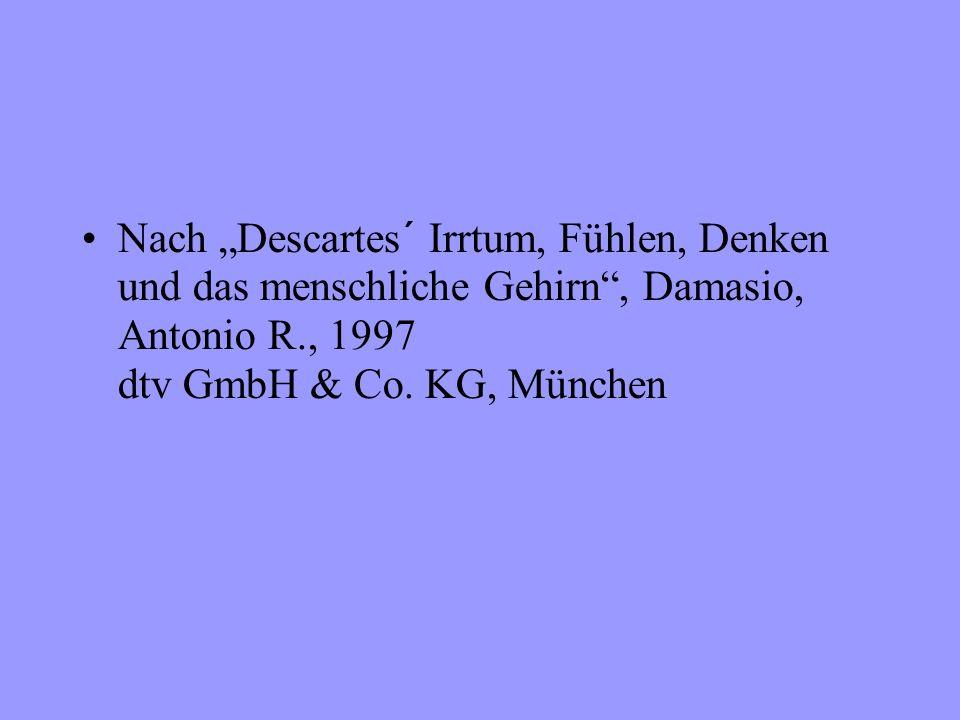 Nach Descartes´ Irrtum, Fühlen, Denken und das menschliche Gehirn, Damasio, Antonio R., 1997 dtv GmbH & Co.