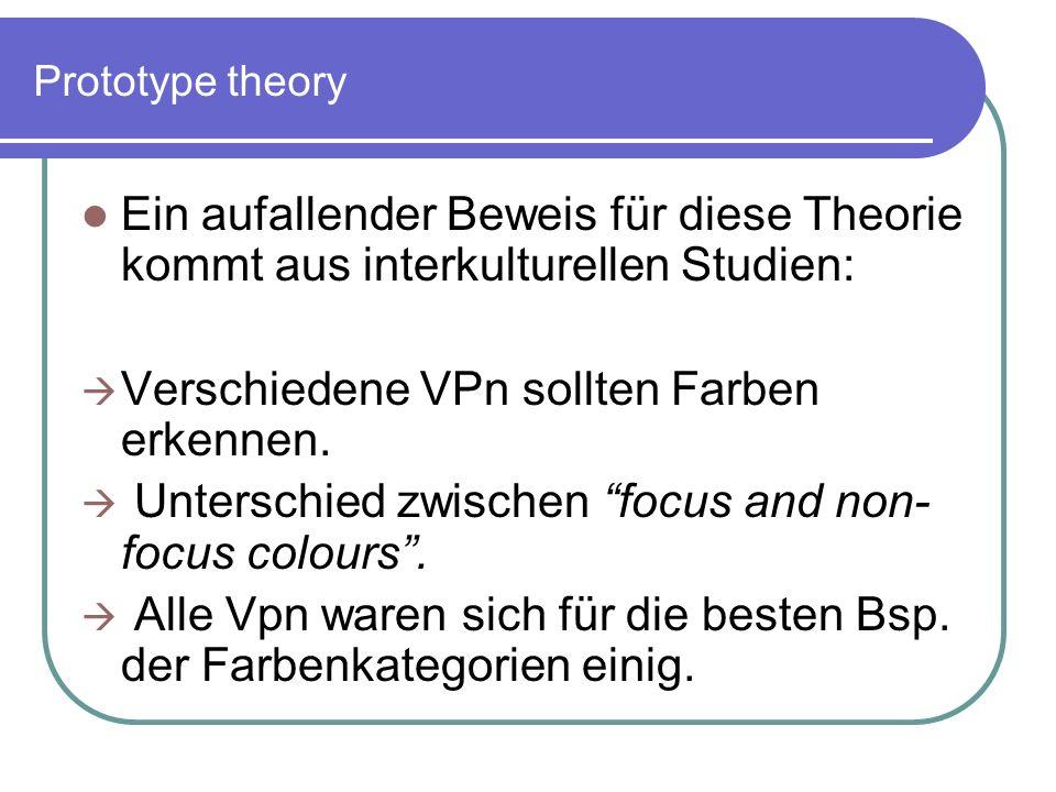 Prototype theory Ein aufallender Beweis für diese Theorie kommt aus interkulturellen Studien: Verschiedene VPn sollten Farben erkennen. Unterschied zw