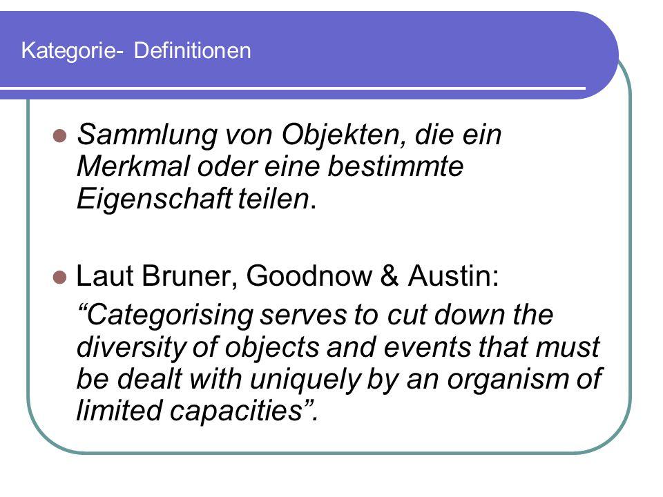 Kategorie- Definitionen Sammlung von Objekten, die ein Merkmal oder eine bestimmte Eigenschaft teilen. Laut Bruner, Goodnow & Austin: Categorising ser