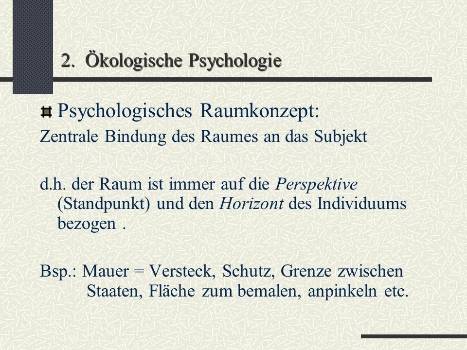 2. Ökologische Psychologie Umwelt als subjekt-zentrierter Bedeutungsraum People-environment-Studien verwenden statt Begriff Umwelt den Begriff Lebensw