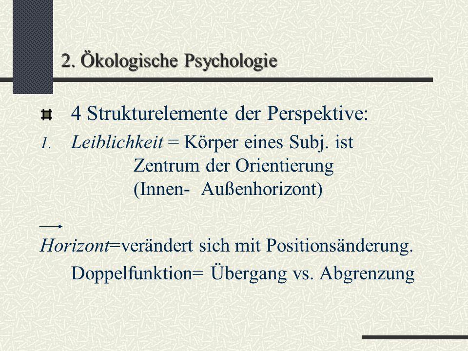 2. Ökologische Psychologie Zusammenfassung: Raum, in dem wir leben und erleben ist ein Raum mit Bedeutung...persons are to be understood as intending,