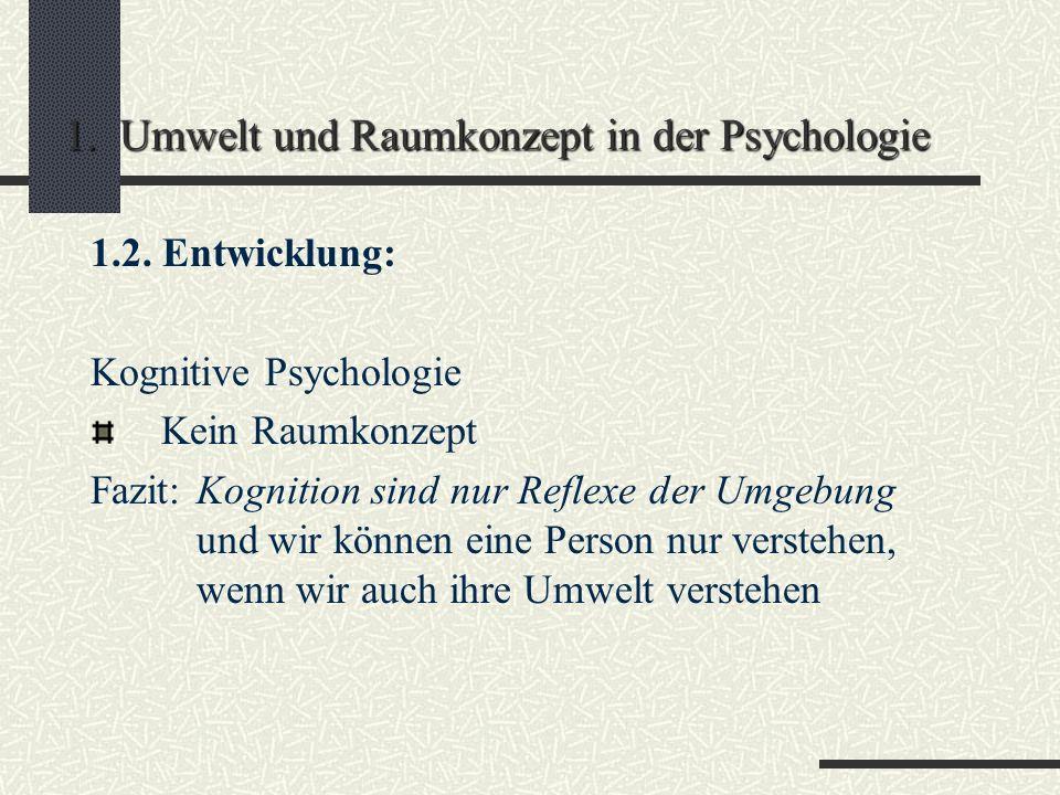 1. Umwelt und Raumkonzept in der Psychologie 1.2. Entwicklung: Klassische und instrumentelle Konditionierung (Pawlow) Physikalische Reize und das, was
