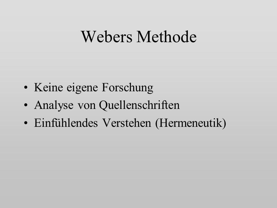 Webers Methode Keine eigene Forschung Analyse von Quellenschriften Einfühlendes Verstehen (Hermeneutik)