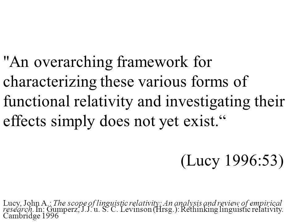 An overarching framework for characterizing these various forms of functional relativity and investigating their effects simply does not yet exist.